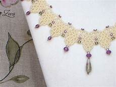 lace beadwork necklace with fluorite pendant 511 by zeesi