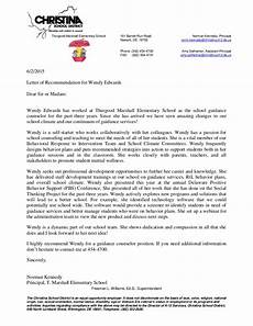 Letter Of Recommendation For Principals Principal Letter Of Recommendation For Wendy Edwards