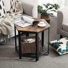 industrial side end table with storage rack stable metal