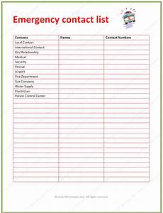 Contact List Format 7 Best Images Of Printable Emergency Contact List