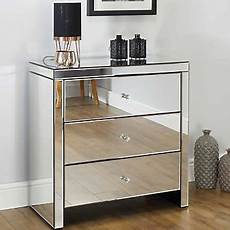birlea seville mirrored 3 drawer wide bedside chest freemans