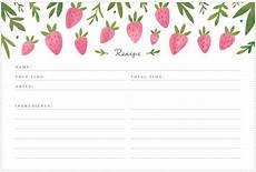 Recipes Cards Printable Strawberry Recipe Cards Freutcake