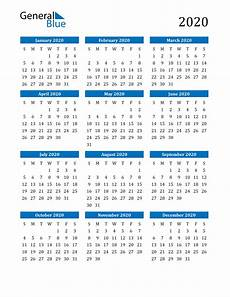 Calendar 2020 For Word 2020 Calendar Pdf Word Excel