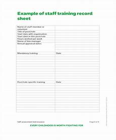 Staff Training Record Template Free 12 Training Sheet Templates Free Sample Example Format