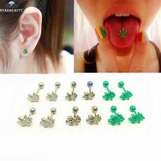 Light Up Tongue Piercing 1pc Light Green Color Leaves Tongue Piercing Tongue Ring