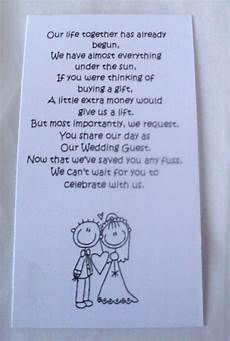 Wedding List Poems 50 Small Wedding Gift Poem Cards Asking For Money Bride