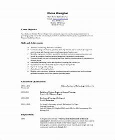 Nursing Objective Resume Free 8 Sample Nursing Student Resume Templates In Ms Word