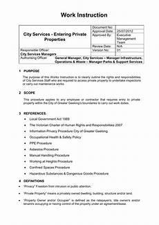Work Instruction Form Procedure Or Work Instruction Template
