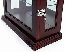 mahogany countertop curio cabinet locking glass door