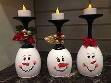 Christmas Wine Glass Tea Light Holders Diy Wine Glass Snowman Tea Light Candle Holder Christmas