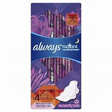 Always Light Pads Always Radiant Overnight Pads Size 4 Light Clean Scent