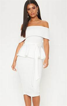 white bardot peplum midi dress dresses prettylittlething