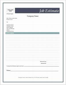 Job Estimates Estimate Templates Printable Free Joy Studio Design