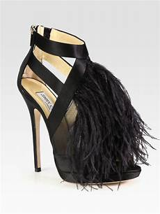 Designer Shoes With Feathers Jimmy Choo Teazer Ostrich Feather Satin Platform Sandals