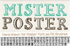 Cool Fonts To Draw On A Poster Hand Drawn Mister Poster Font Free Brush Set Only 7