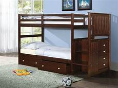 wood bunk bed with reversible stairs and built in 4 drawer