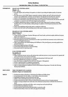 Resume For A Call Center Agent Call Center Agent Resume Samples Velvet Jobs