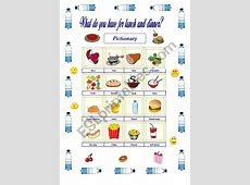 What do you have for lunch and dinner?   ESL worksheet by