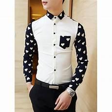 Designer Shirt Pattern Fashion Slimming Shirt Collar Heart Pattern Splicing Long