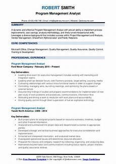 Sample Program Analyst Resume Program Management Analyst Resume Samples Qwikresume