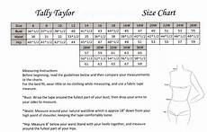 Tally Taylor Size Chart Click To Enlarge