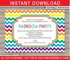 Party Invitation Template Rainbow Party Invitations Template Birthday Party
