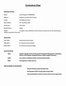 Simple Cv Formats Curriculum Vitae Sample Format