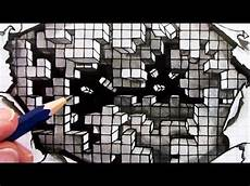 Graph Paper Art Step By Step How To Draw An Optical Illusion Falling Cubes 3d Hole In