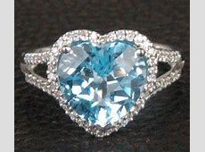 Heart Shaped Blue Topaz Diamonds Engagement Ring   LOGR
