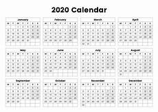 One Page Yearly Calendar 2020 One Page Yearly Calendar 2020 Printable Cute 2019