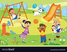 Playing Kids Cartoon Smiling Kids Playing At The Playground Royalty Free Vector