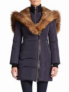 mackage trish fur trimmed puffer coat in blue ink