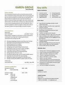 Shop Assistant Cv Template Retail Cv Template Sales Environment Sales Assistant Cv