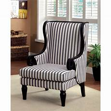 striped accent chairs shop ravi transitional black wingback striped accent chair