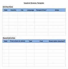 Itinerary Template Pages Vacation Itinerary Template 8 Free Excel Pdf Documents