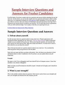 Introduction For Interview Sample Interview Questions And Answers For Fresher