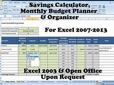 Budget Calculation Excel Savings Calculator Monthly Budget Planner And Organizer For