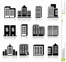 Vector Company Office Buildings Business Center Icons Set Stock