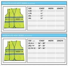 Vest Size Chart Adults Hi Vis Vests Screen Printed