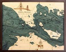 Great Straits Chart Custom Wood Charts Of Straits Of Mackinac From Carved Lake