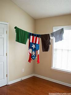 indoor clothesline line drying clothes inside the house