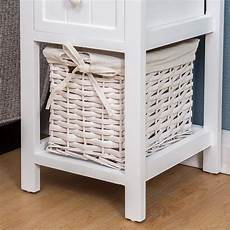 white wood bedside table with 1 drawer 1 wicker basket