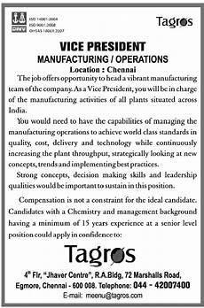 Vice President Of Manufacturing Job Description Vice President Manufacturing Operations Job In Chennai