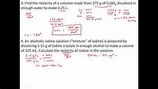 Chemistry Concentration Problems Practice Problems With Solutions Concentration And