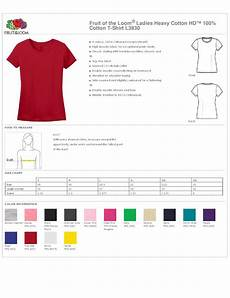 Fruit Of The Loom Size Chart Fruit Of The Loom 174 Ladies Heavy Cotton Hd 100 Cotton T