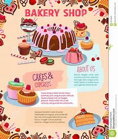 Cake Poster Design Vector Poster For Bakery Shop Cakes And Desserts Stock