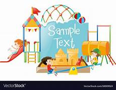 Playground Templates Paper Template With Kids At Playground Royalty Free Vector