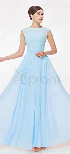 Light Blue Dress Cap Sleeves Blue Long Prom Dresses Cap Sleeves Modest Bridesmaid