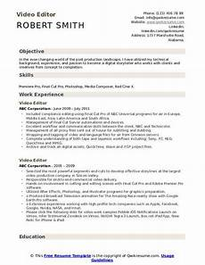 Video Editor Resume Video Editor Resume Samples Qwikresume