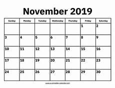 Calendar Month November 2020 November 2019 Printable Calendar Free Blank Templates